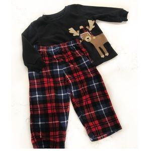 Carter's Fleece 2-piece plaid Reindeer pajamas